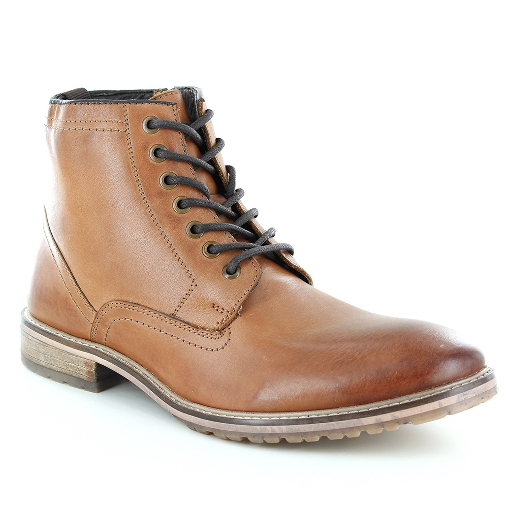 Paolo Vandini Nenthall Mens Warm Lined Leather Boots - Tan Brown