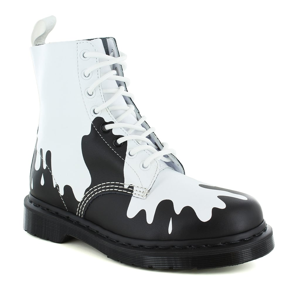 Dr Martens Pascal Paint Splat Womens Leather 8-Eyelet Ankle Boots - White & Black