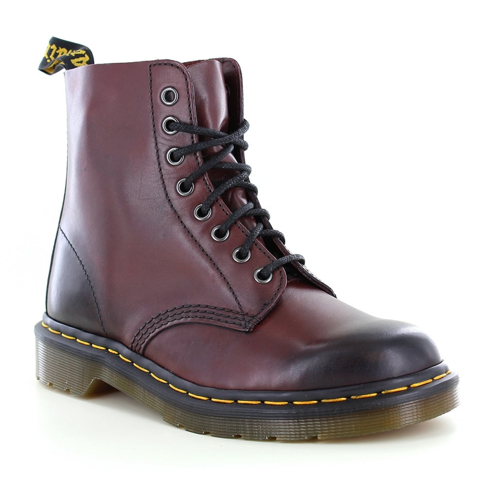 Dr Martens Pascal Unisex Leather 8-Eyelet Boots - Cherry Red