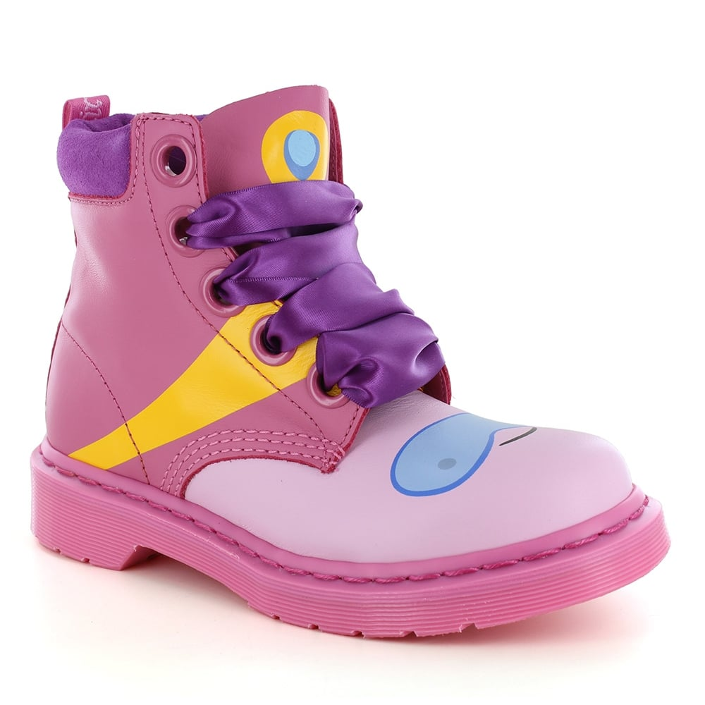 Dr Martens Bonnibel Princess Bubblegum Adventure Time Unisex Leather 8-Eyelet Boots - Winter Pink & Candy Pink