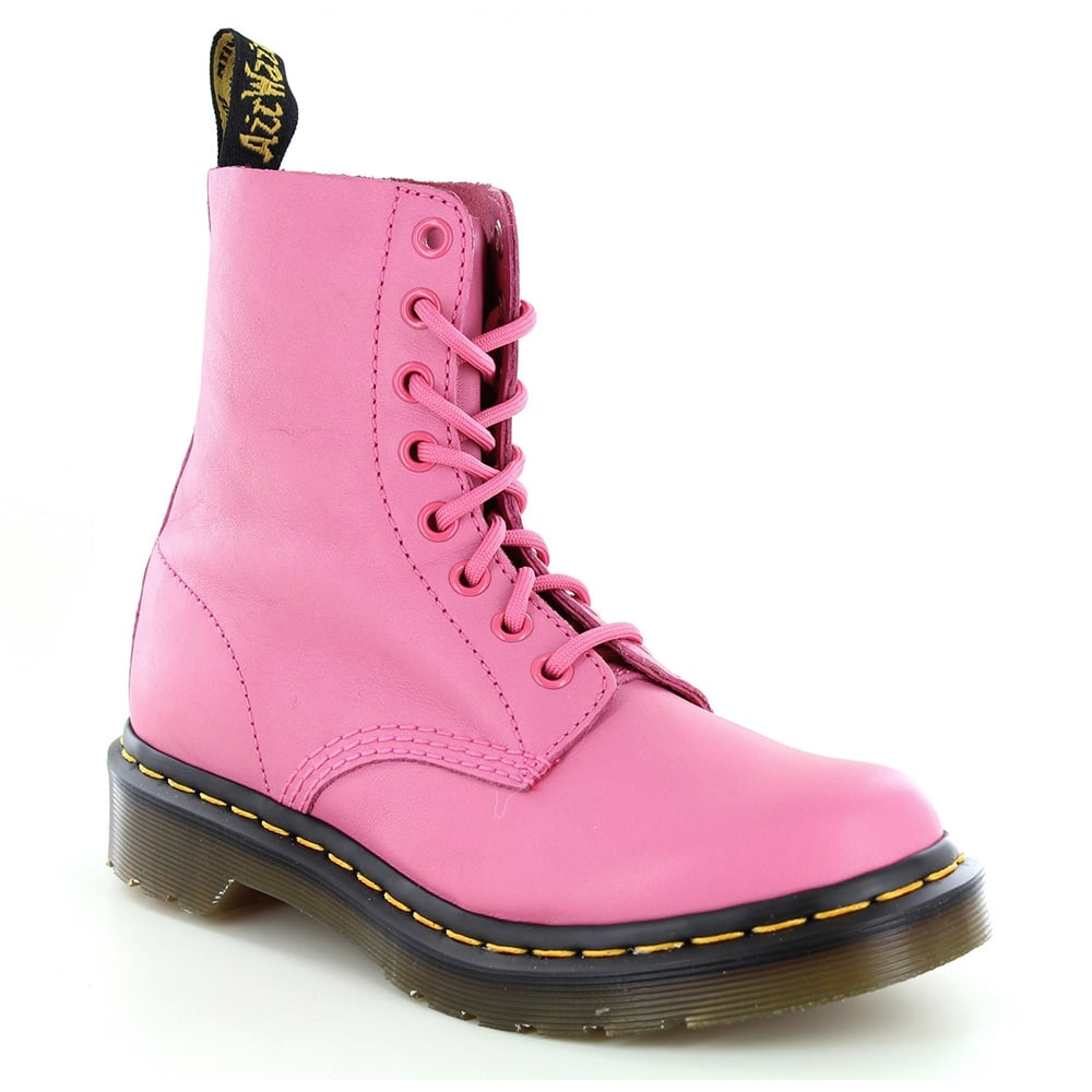 Dr Martens Pascal Womens Leather 8-Eyelet Ankle Boots - Hot Pink