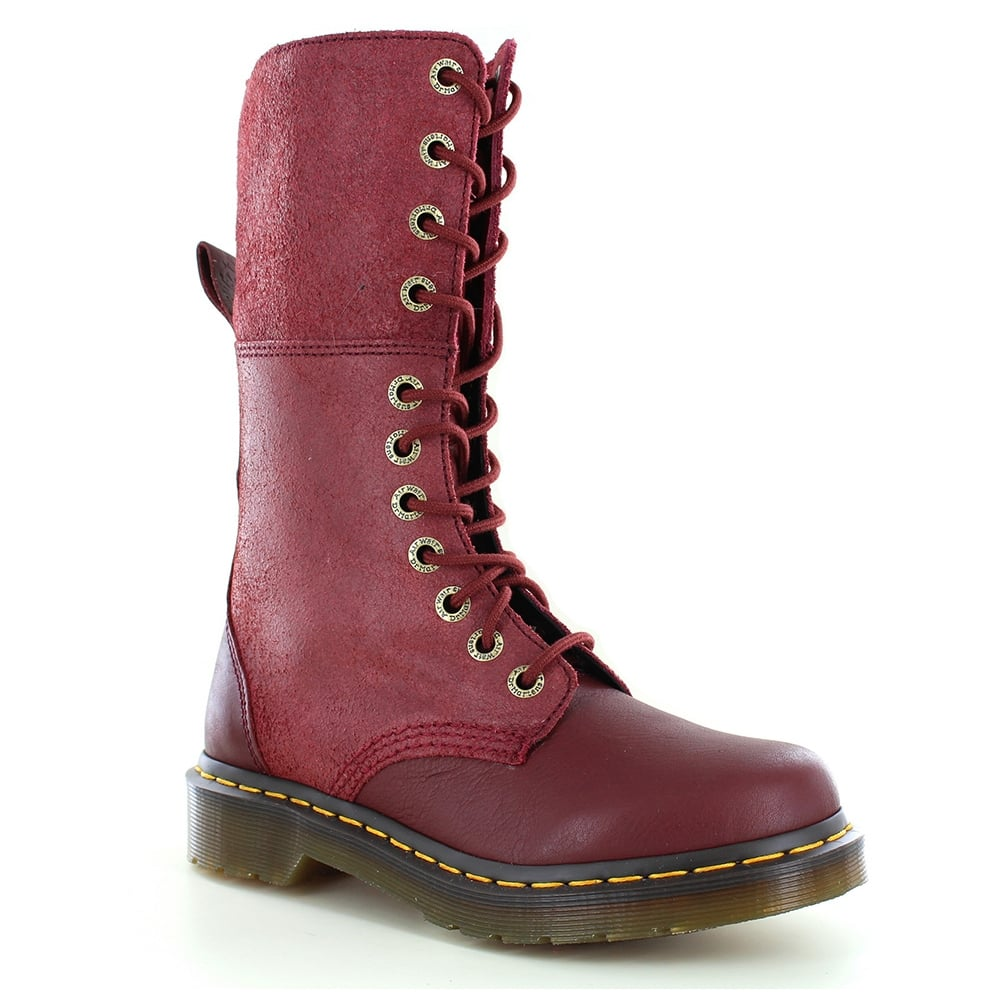 Dr Martens Hazil Womens Leather Slouch Boots - Cherry Red