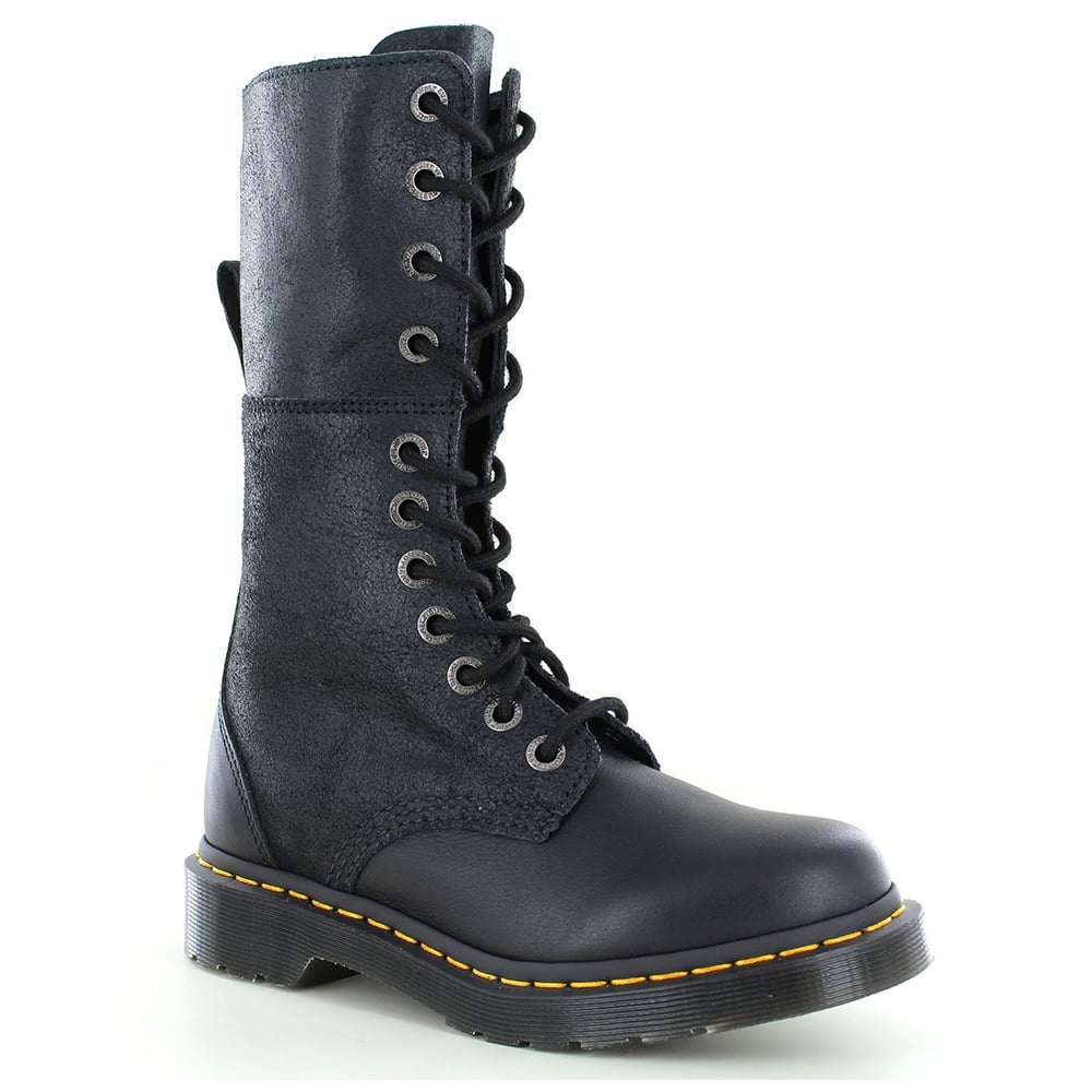 Dr Martens Hazil Womens Leather Slouch Boots - Black