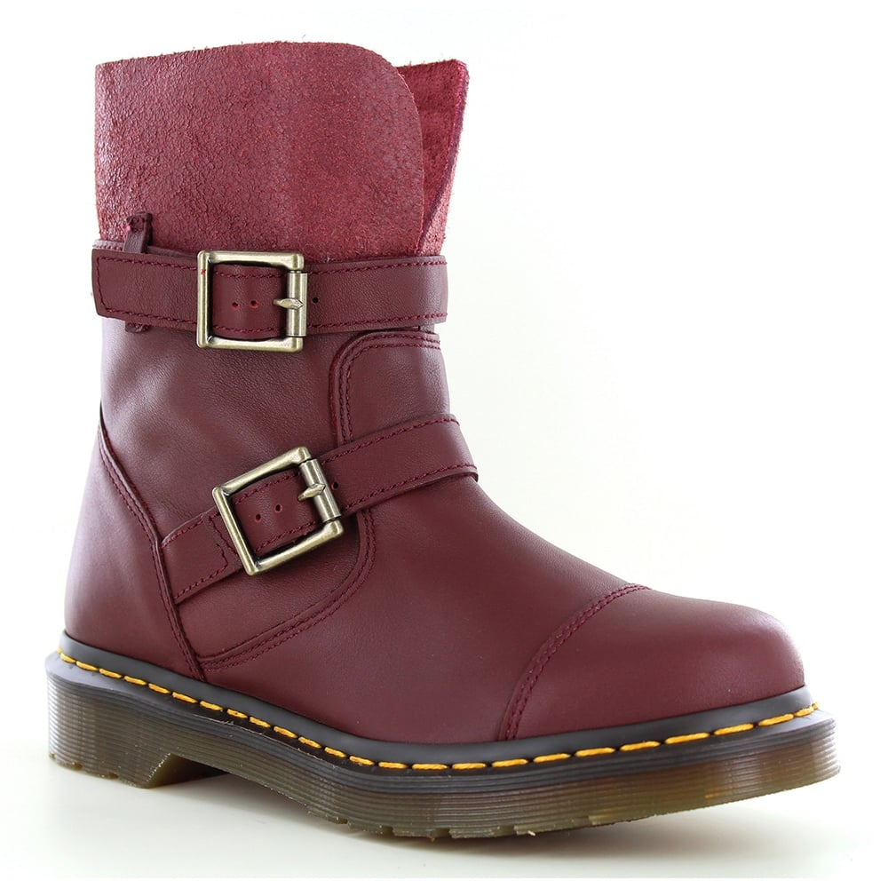 Dr Martens Kristy Womens Leather Rigger Boots - Cherry Red