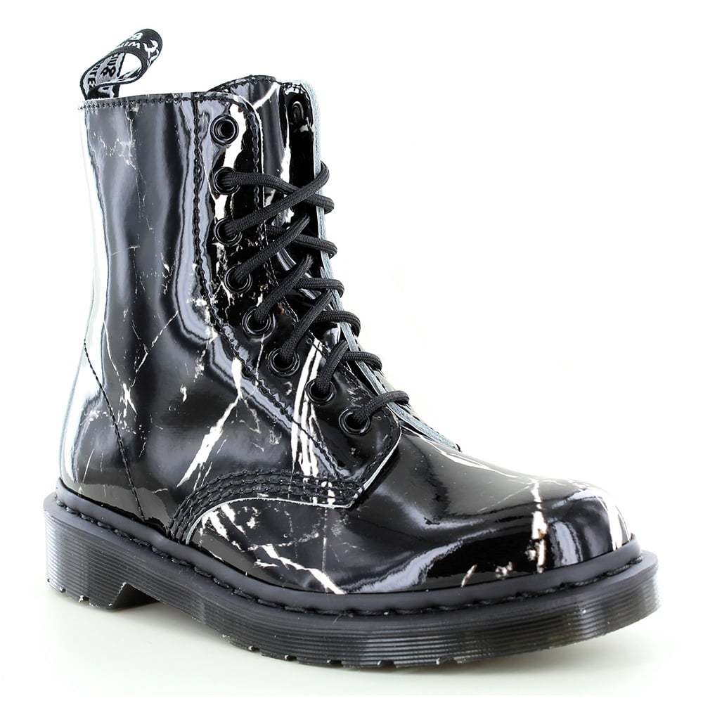 Dr Martens Pascal Marble Womens 8-Eyelet Patent Leather Boots - Black
