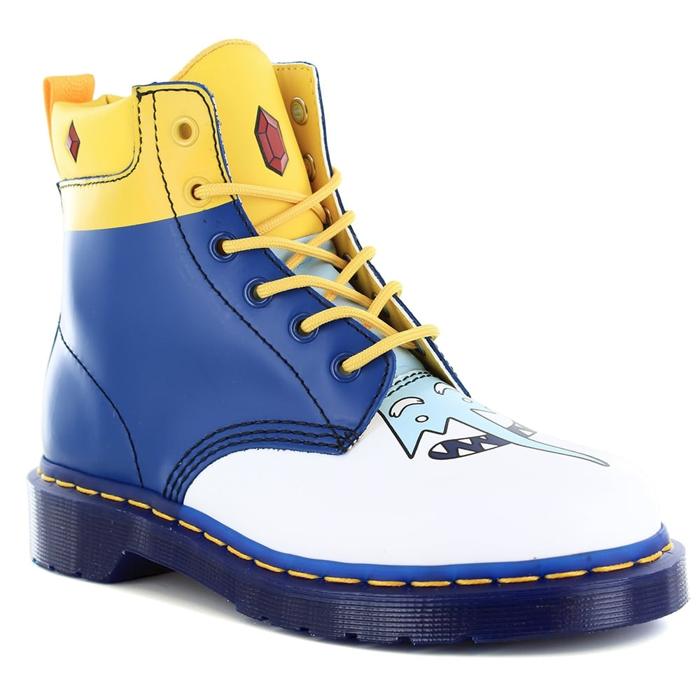 Dr Martens 939 Ice King Adventure Time Unisex Leather 8-Eyelet Boots - White & Blue