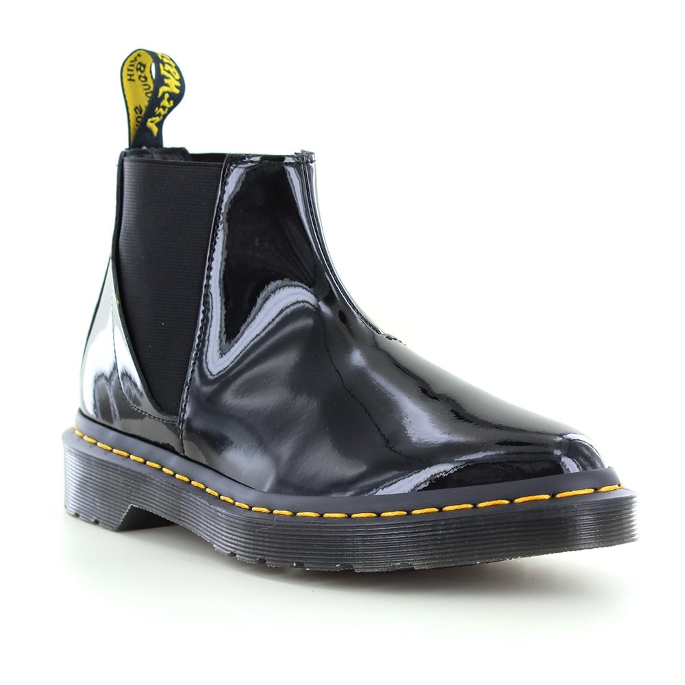Dr Martens Bianca Womens Patent Leather Chelsea Boots - Black