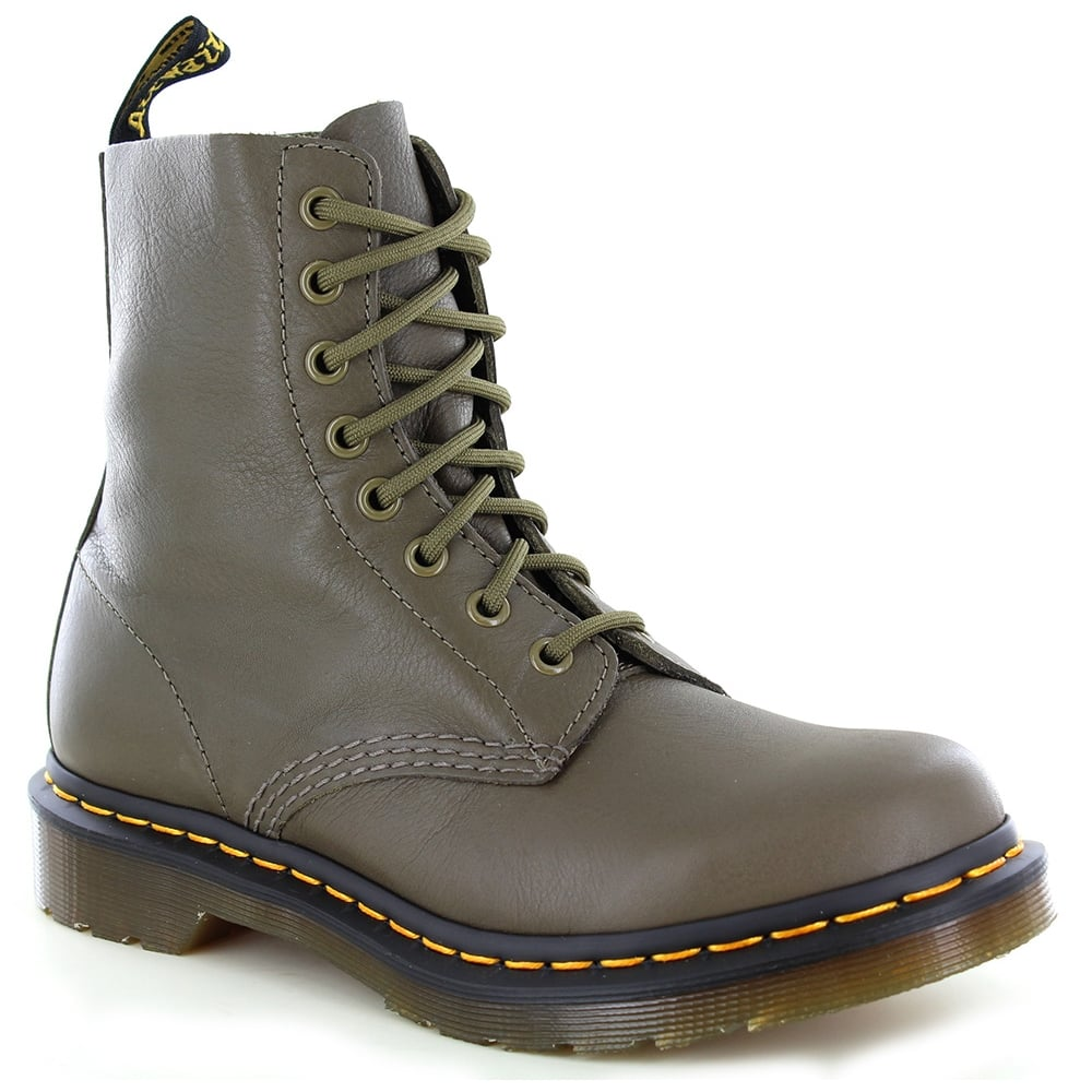 Dr Martens Pascal Womens Leather 8-Eyelet Ankle Boots - Grenade Green