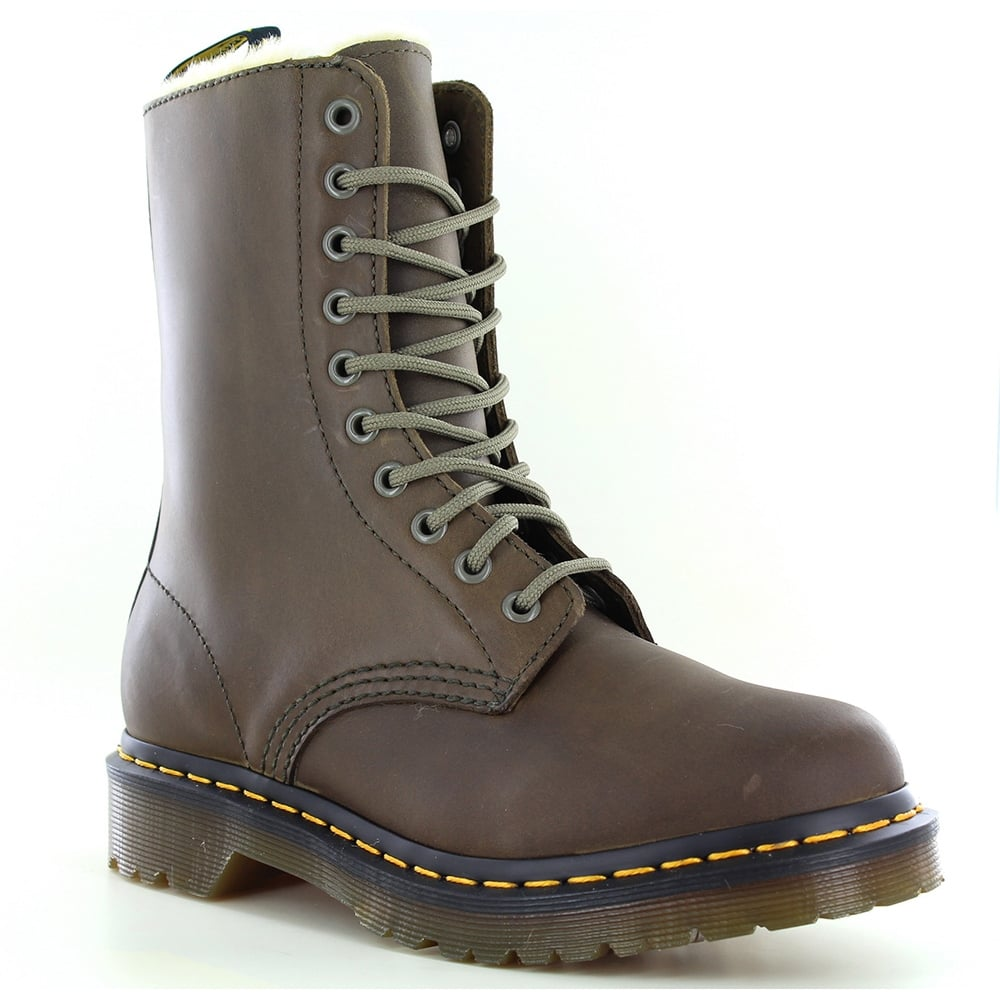 Dr Martens 1490 FL Womens Warm Leather Boots - Grenade Green
