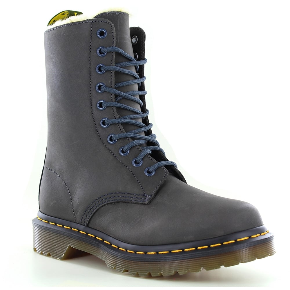 Dr Martens 1490 FL Womens Warm Leather Boots - Graphite Grey