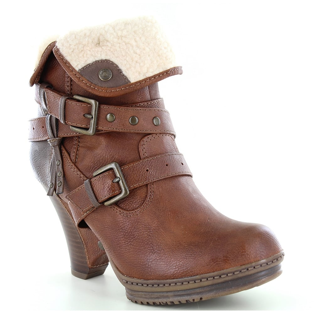 Mustang 1107-604-301 Womens Warm Lined Ankle Boots - Chestnut Brown