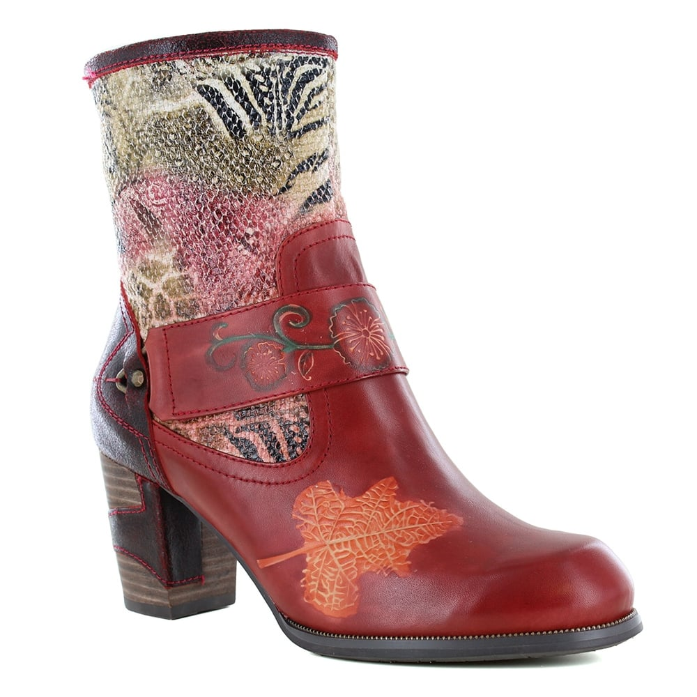 Laura Vita Anna 02 SL195-2A Womens Leather Ankle Boots - Red