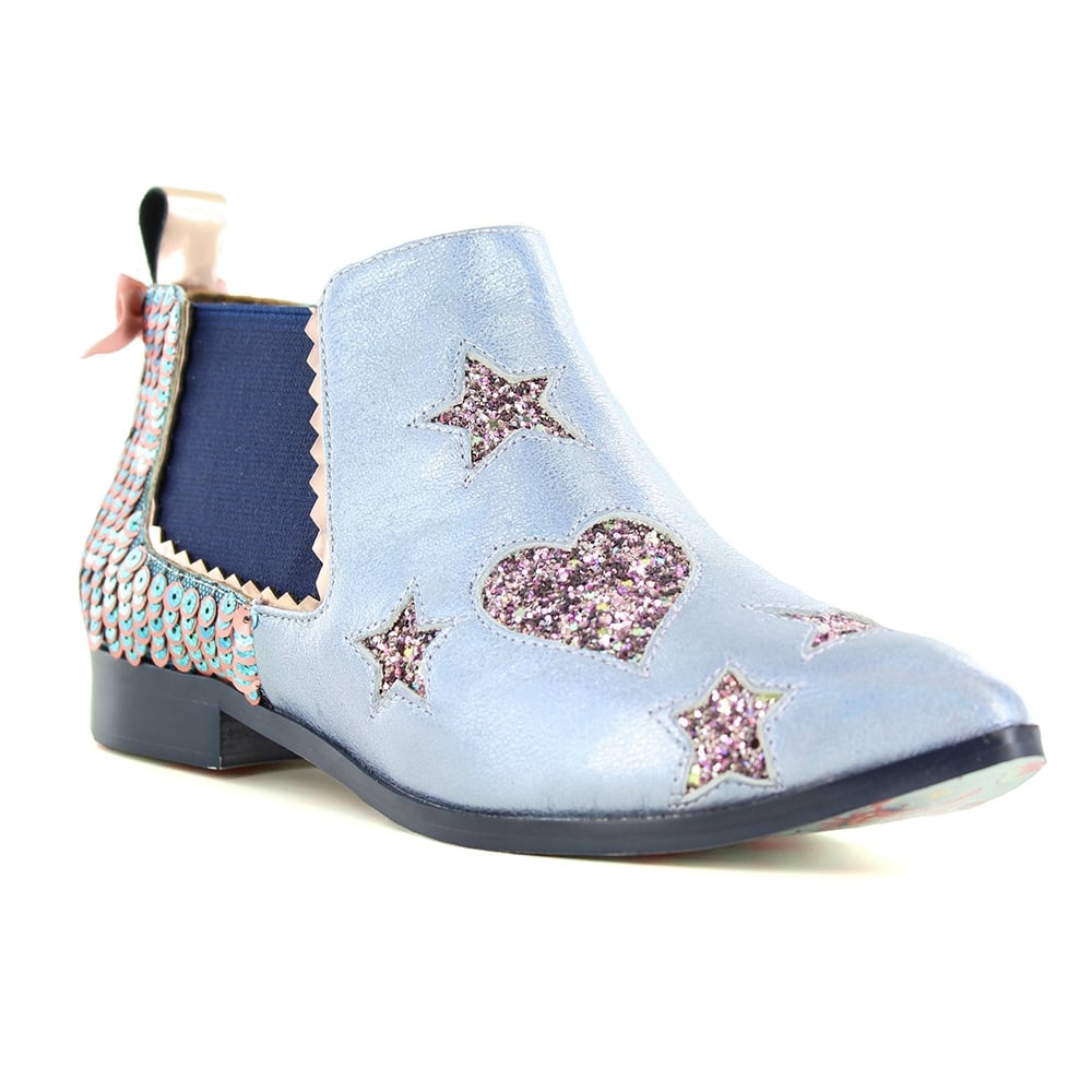Irregular Choice Starlight Impress 4352-1B Womens Chelsea Boots - Light Blue Multi