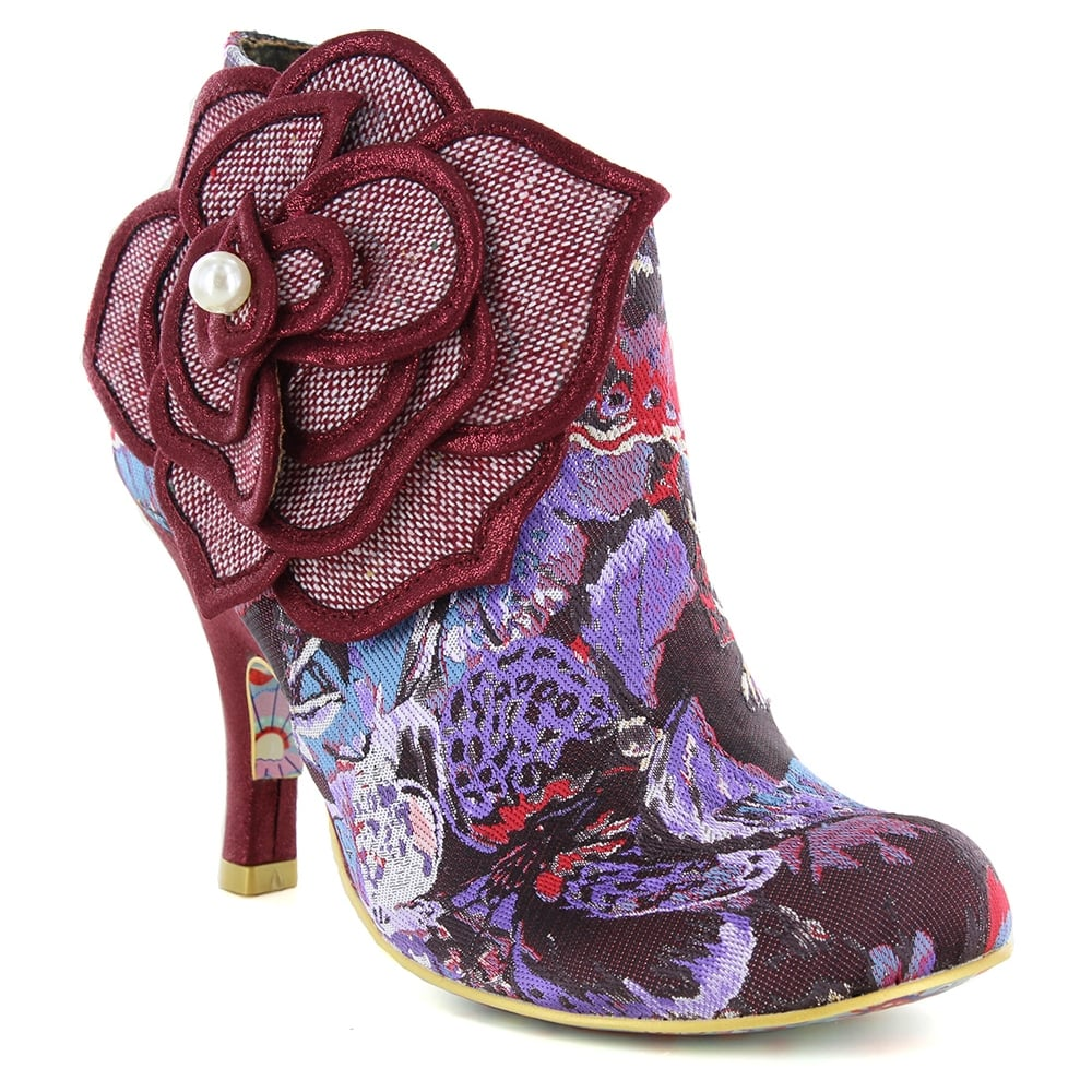 Irregular Choice Pearl Necture 3615-9C Womens Ankle Boots - Bordo/Purple