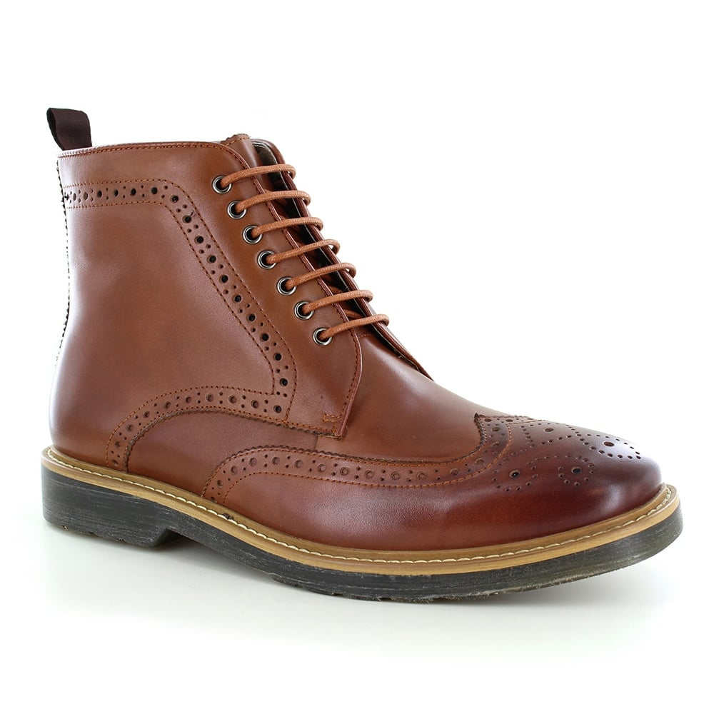 Paolo Vandini Napchester Mens Leather 7-Eyelet Brogue Boots - Tan