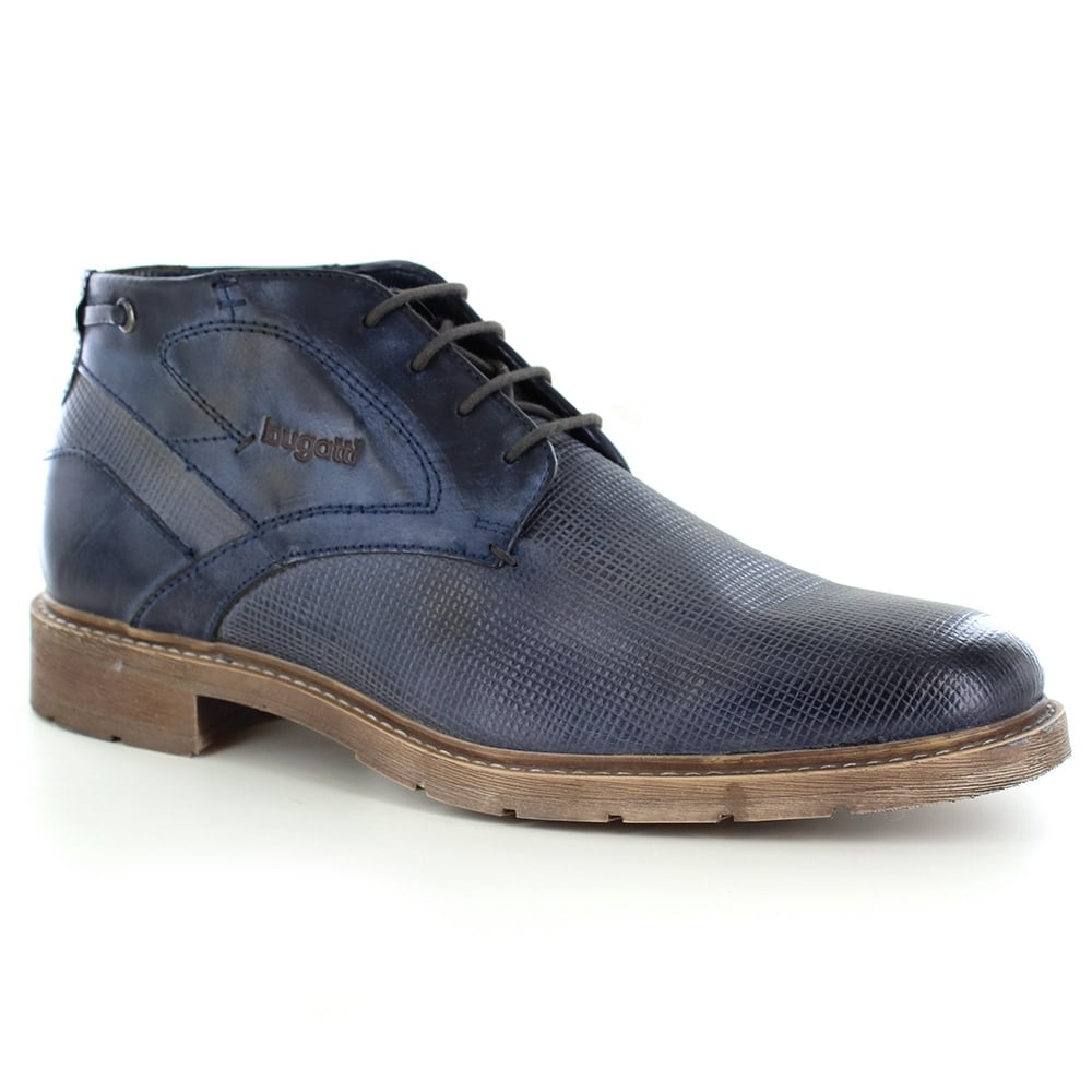 Bugatti Mens 4-Eyelet Leather Boots - Dark Blue