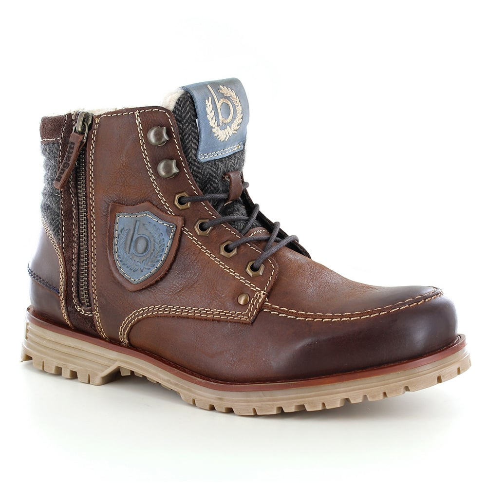 Bugatti Mens Warm Leather Boots - Dark Brown