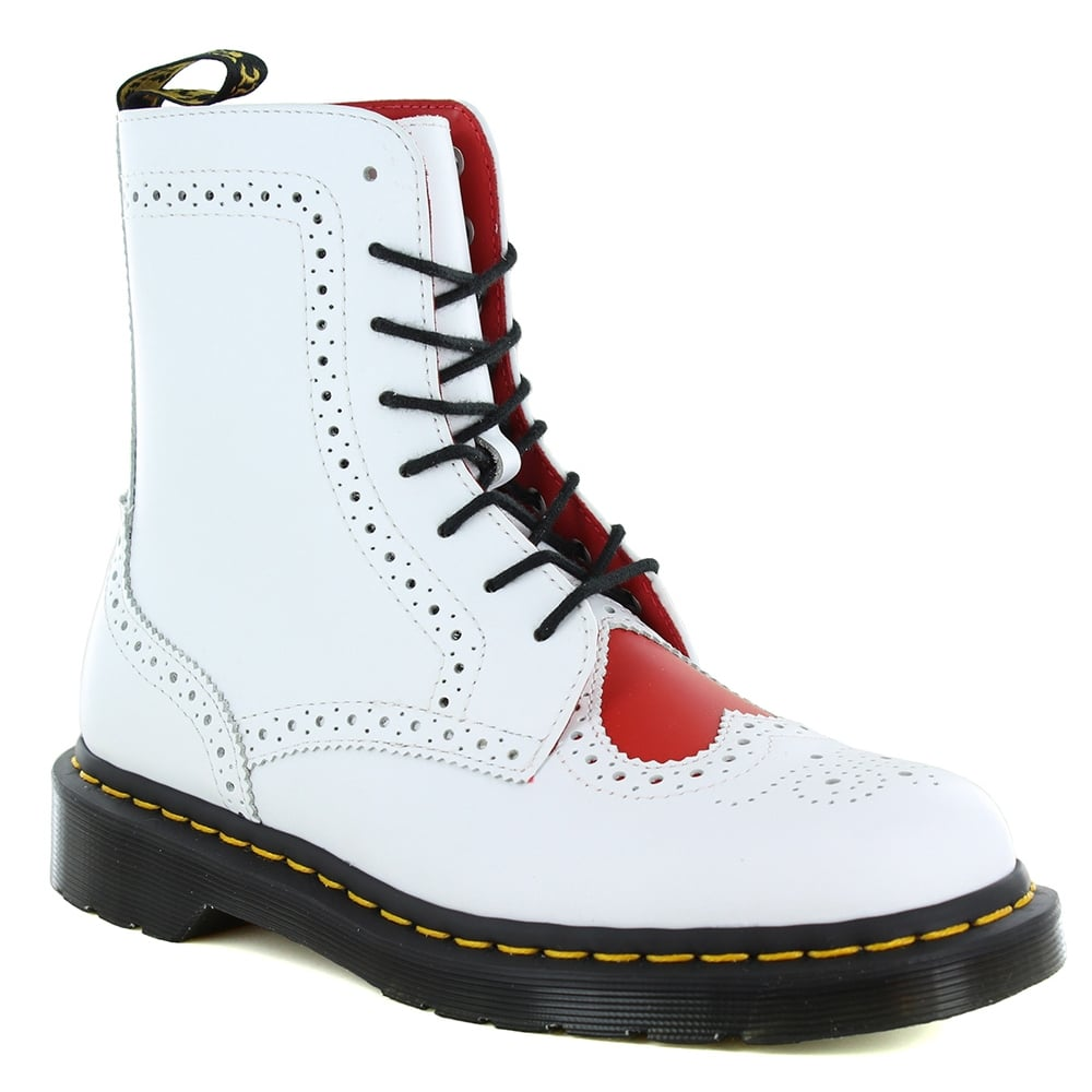 Dr Martens Bentley II Heart Womens 8-Eyelet Leather Brogue Boots - White