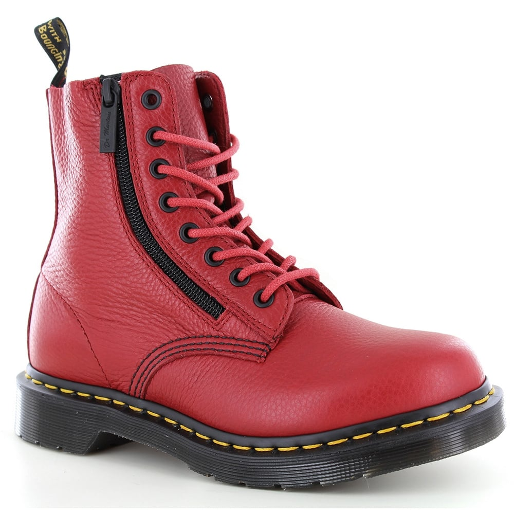 Dr Martens Pascal Womens Leather 8-Eyelet Zip Boots - Dark Red