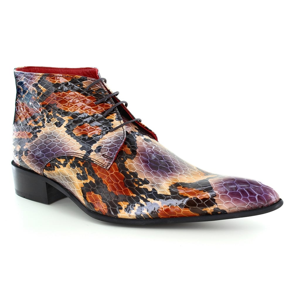 Fertini 7275 Mens Leather Faux Python-Skin Lace-Up Boots - Purple and Brown