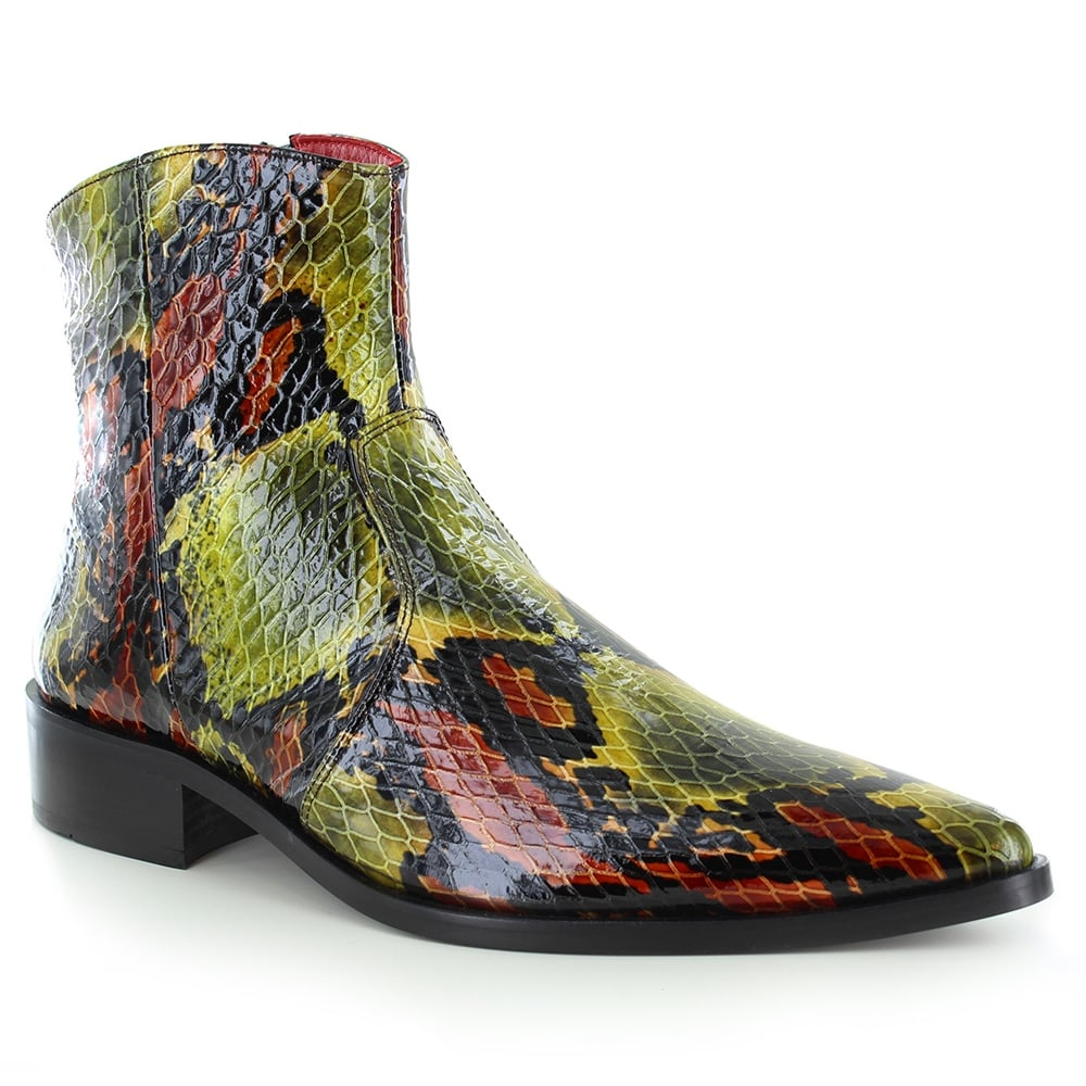 Fertini 15620 Mens Leather Faux Snake-Skin Side-Zip Boots - Green and Brown