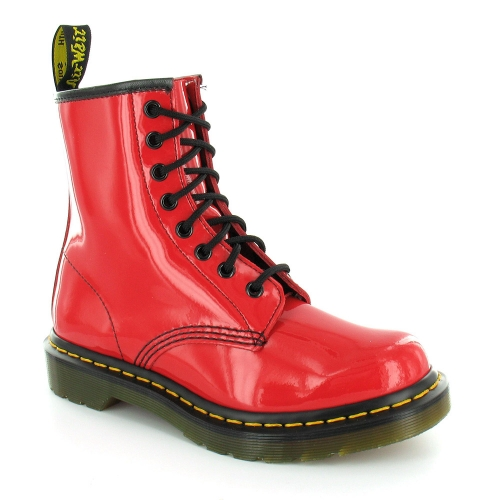 Dr Martens 1460 W Womens Patent Leather Ankle Boots - Red