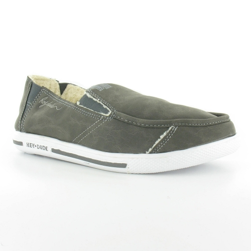 Hey Dude Gus Winter Mens Slip-On Warm Lined Loafer - Charcoal Grey