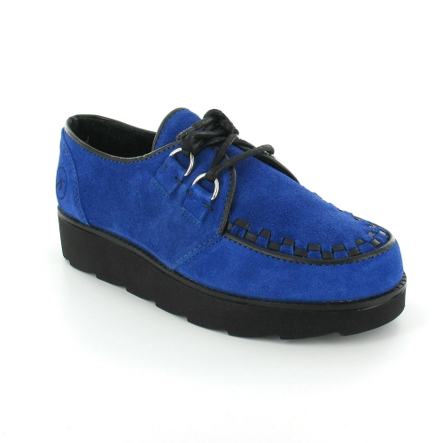 Bronx 64937-C Womens Suede Leather Womens Creeper Shoes - Cobalt Blue