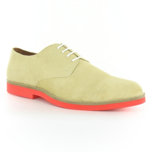 Paolo Vandini Redstone Mens Suede Leather 4-Eylet Shoes - Light Beige