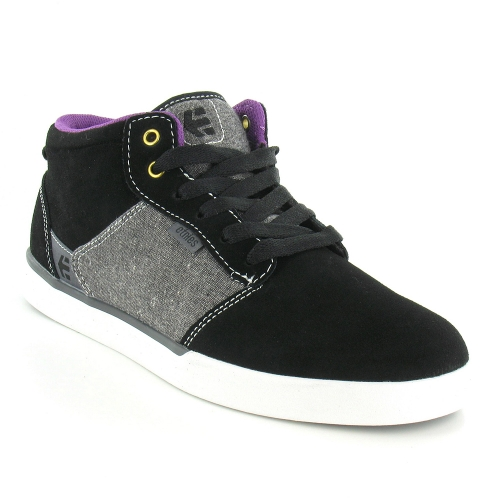 Etnies Jefferson Mid Mens Suede Leather And Textile Mid-Top Skate Shoes - Black, Grey & Purple