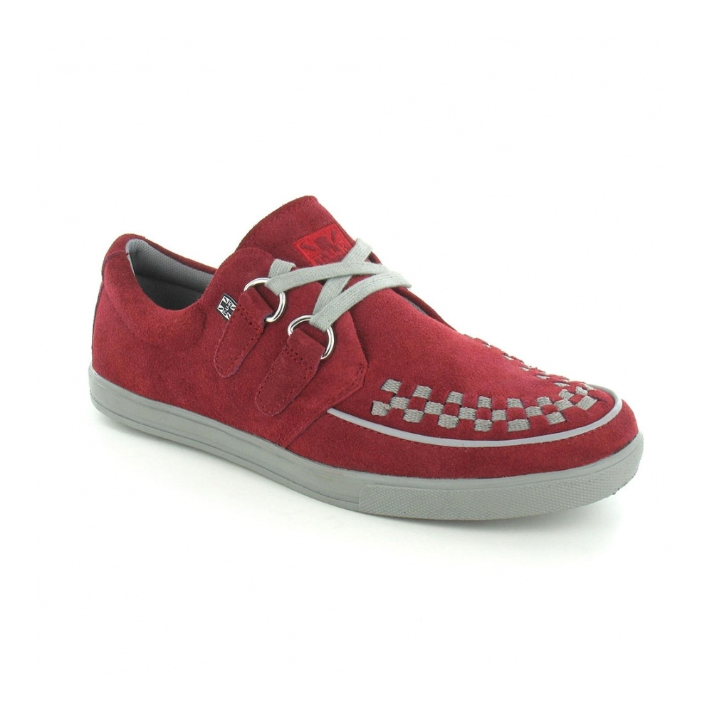 TUK A8447 Mens Suede Leather 2-Ring Rocker Creeper Sneakers - Burgundy & Grey