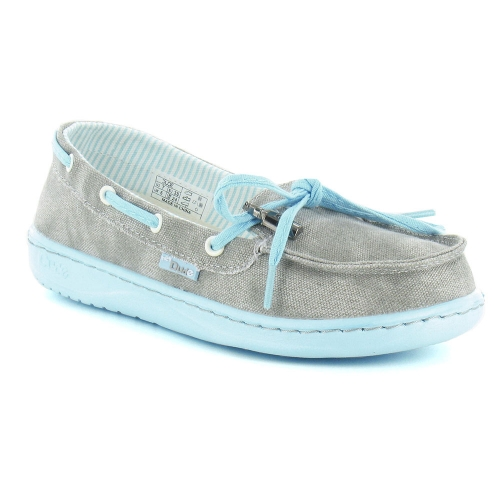 Hey Dude Moka Womens Canvas Slip-On Deck Shoes - Grey Azur
