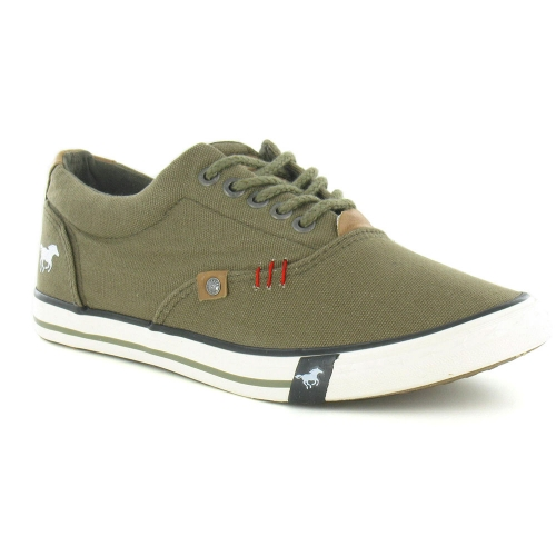 Mustang 4078-302 Mens Canvas Trainer Shoes - Khaki