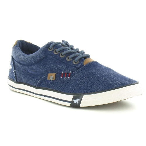Mustang 4078-302 Mens Canvas Trainer Shoes - Jean Blue