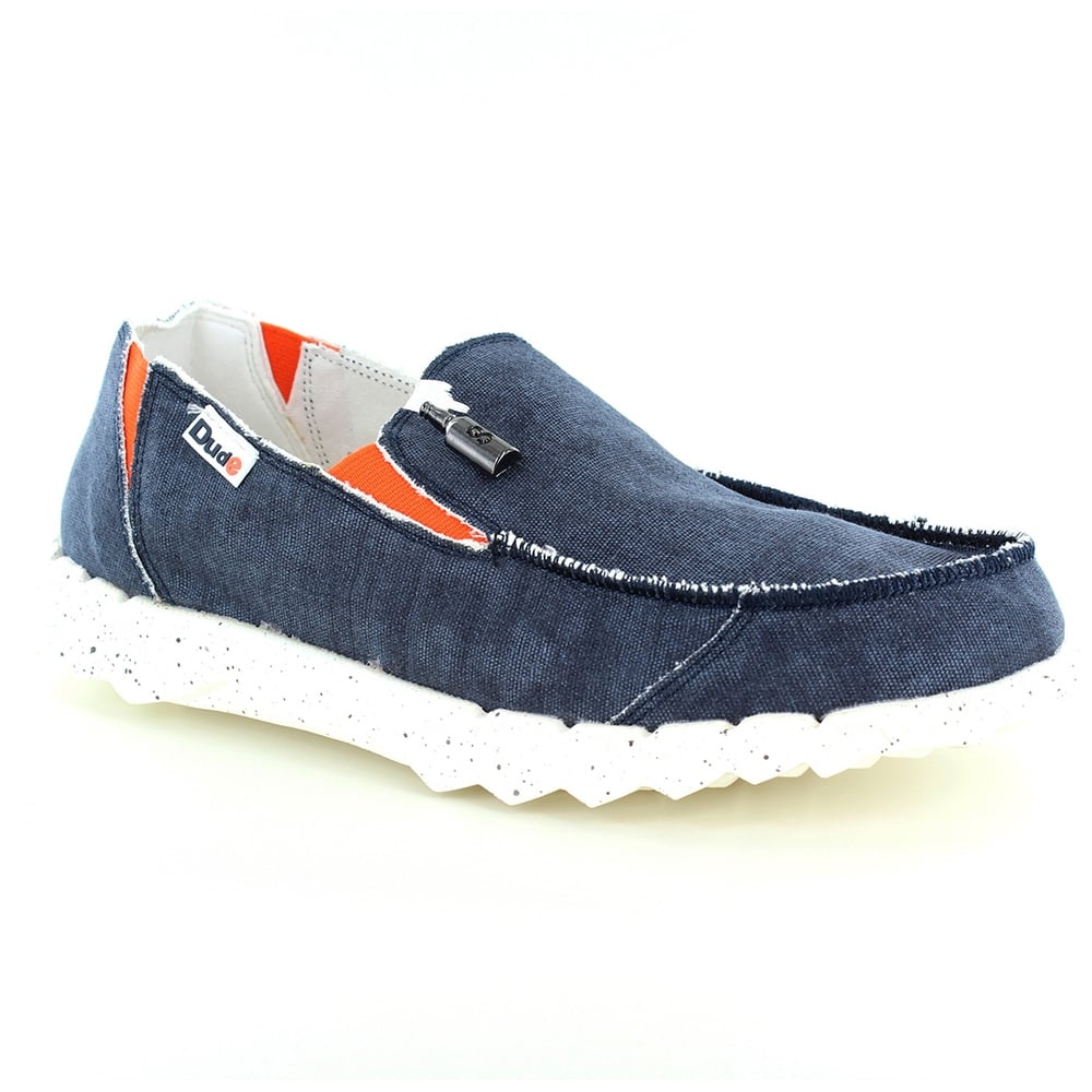 Hey Dude Farty Funk Mens Canvas Slip-on Shoes - Navy Blue
