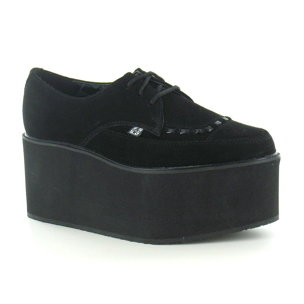 TUK A8666 Womens Suede Leather 3-Eyelet Lace-Up Shoes - Black