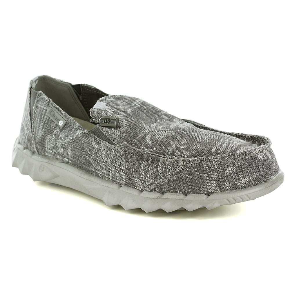 Hey Dude Farty Print Mens Canvas Slip-On Shoes - Grey Palm