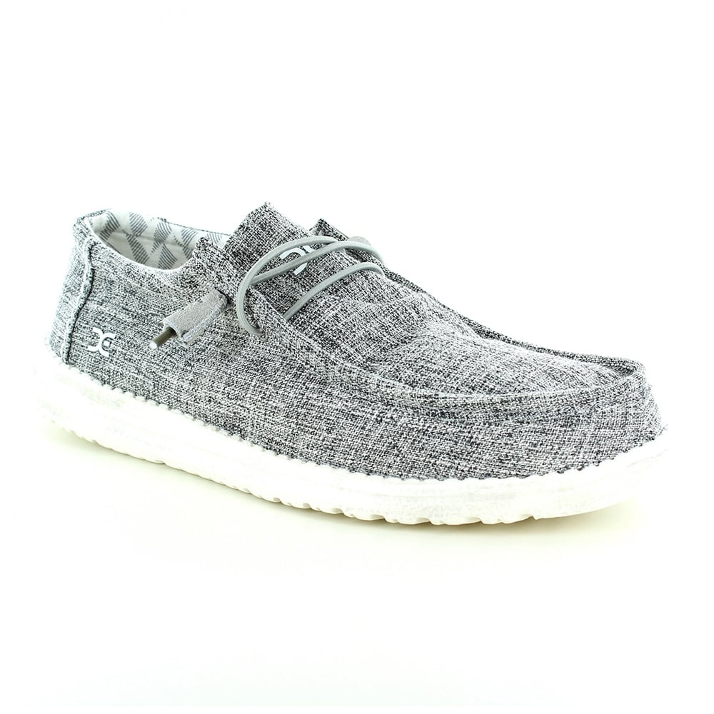 Hey Dude Wally Linen Mens Canvas Slip-on Shoes - Iron Grey