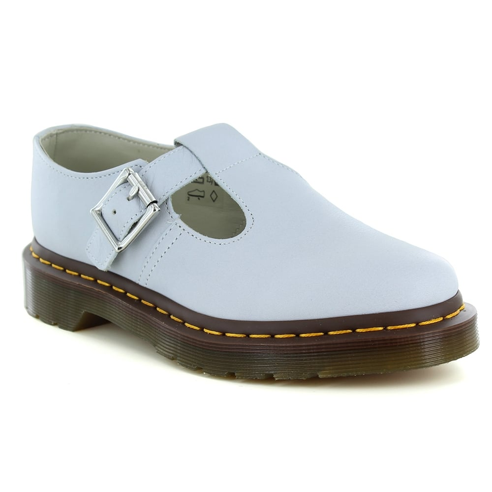 Dr Martens Polley Womens Flat T-Bar Leather Shoes - Blue Moon