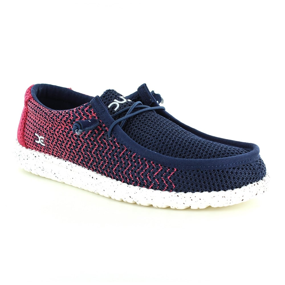 Hey Dude Wally Mesh-G Mens Canvas Slip-on Shoes - Navy Gradient