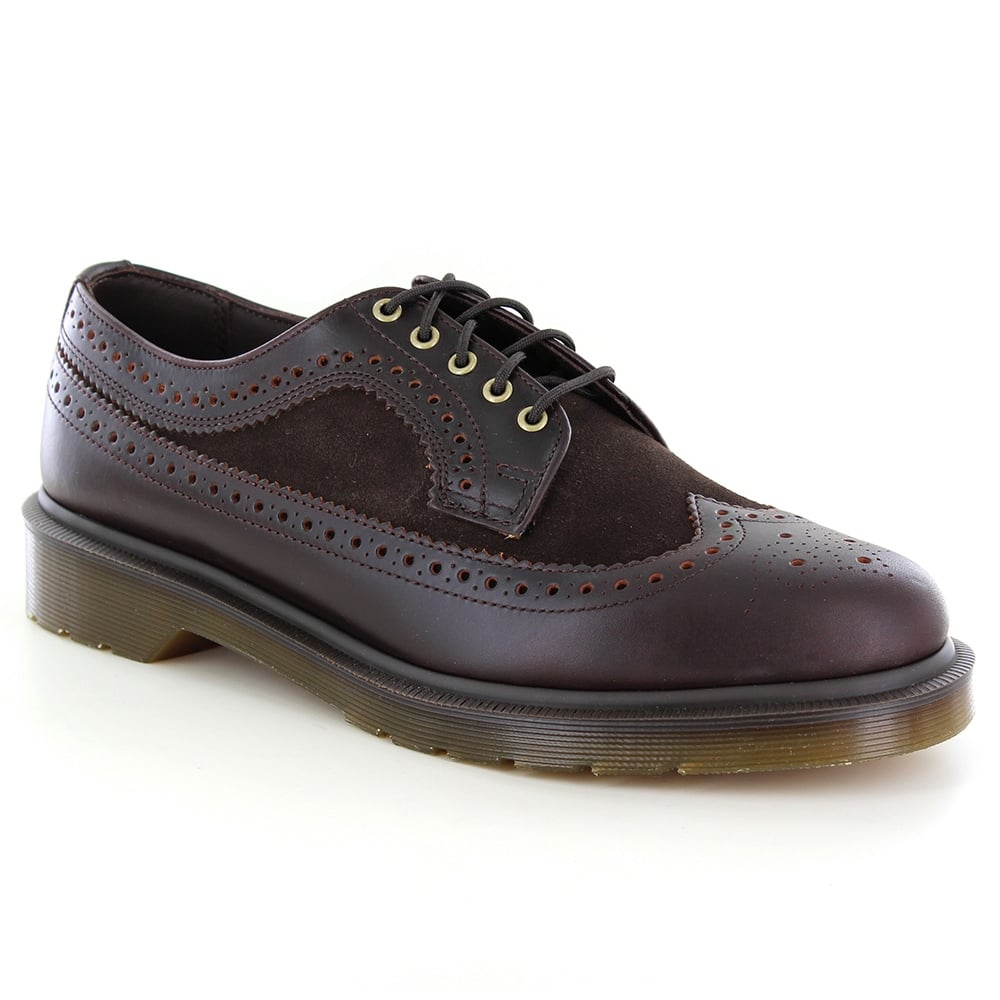 Dr Martens 3989 Mens Leather and Suede Brogue Shoes - Dark Brown