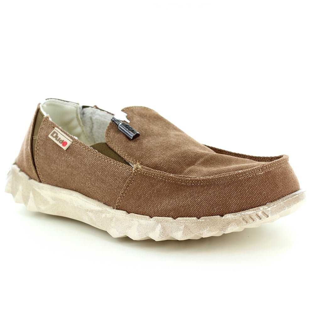 Hey Dude Farty Chalet Mens Warm Lined Canvas Casual Slip-On Shoes - Coffee Brown