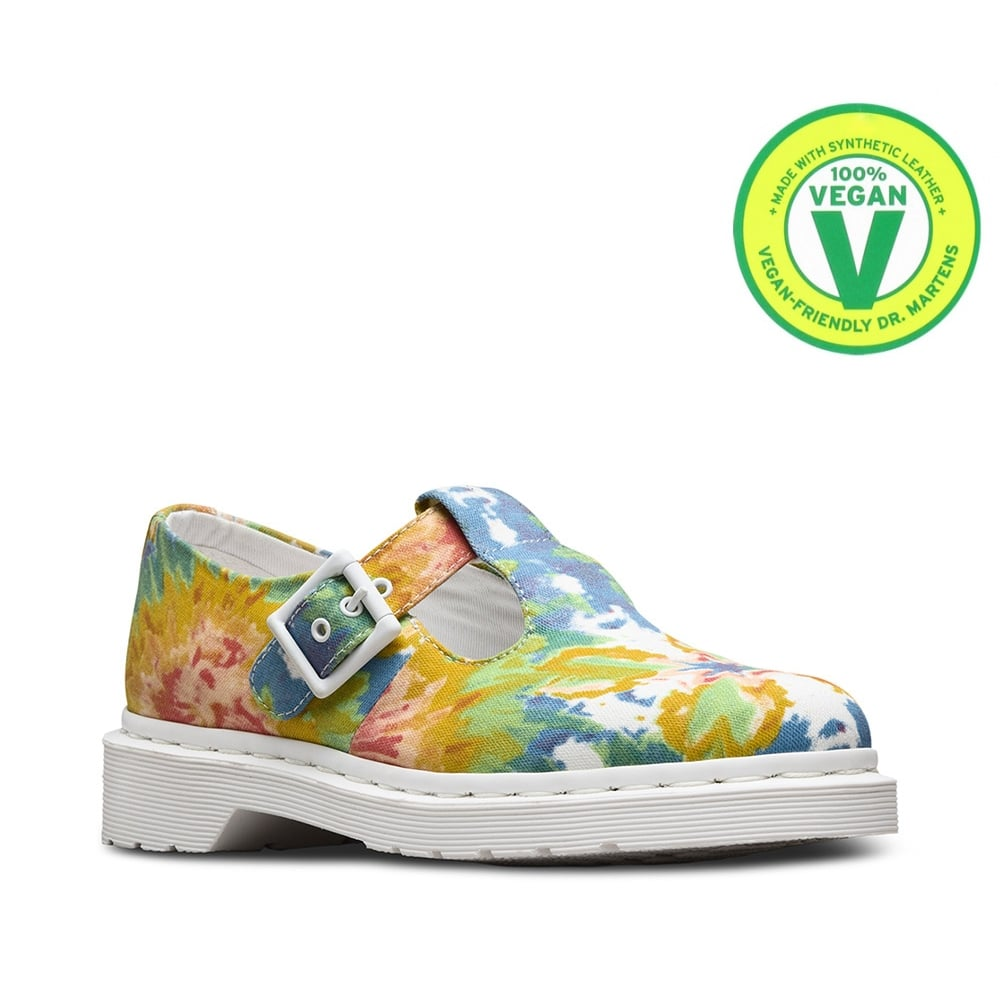 Dr Martens Mandala Tie-Dye Polley Womens Vegan T-Bar Shoes - Multi