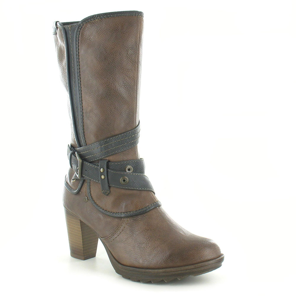 Mustang 1163-602-360 Womens Warm Lined High Heel Mid Calf Length Boots - Brown