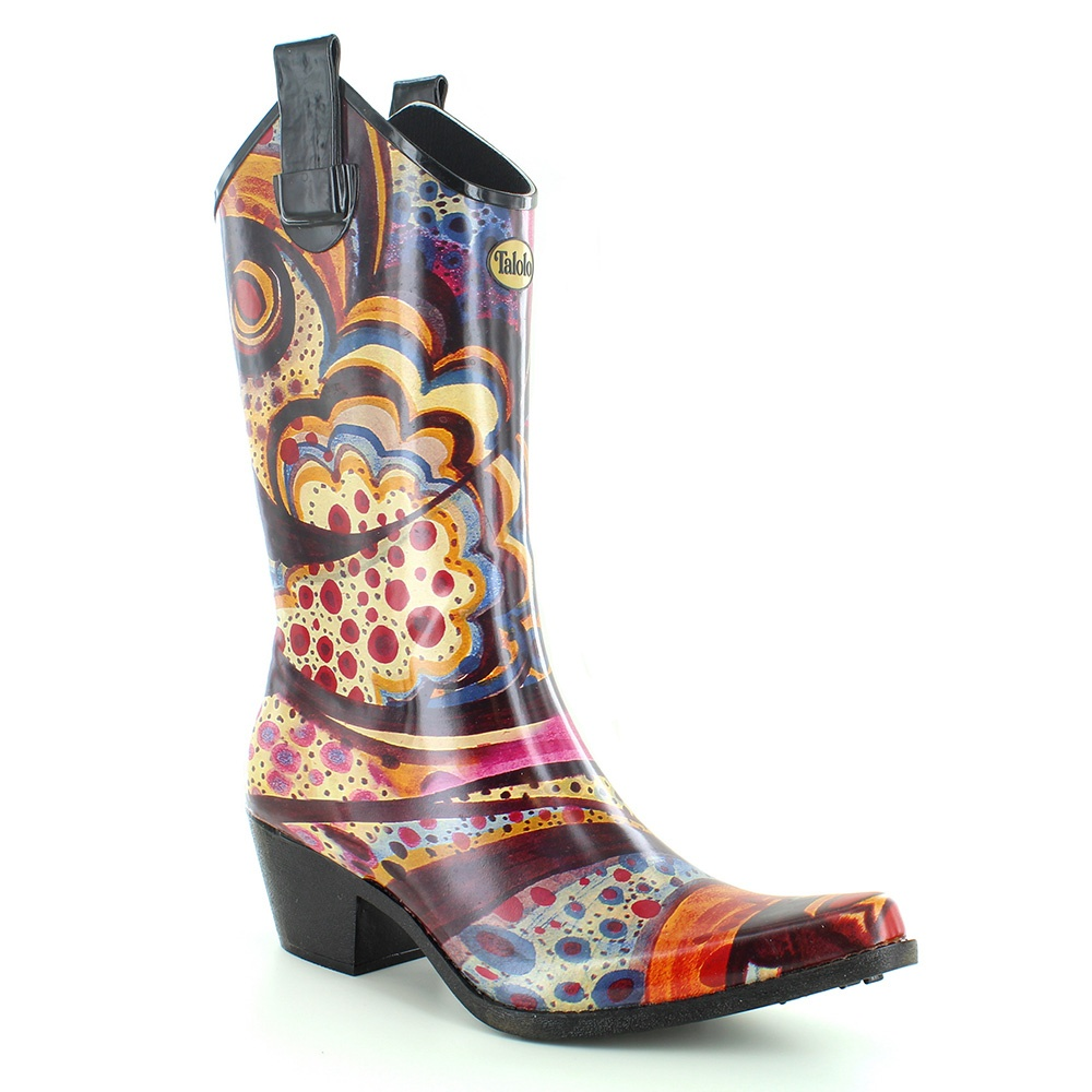 Talolo Womens Print Wellington Boots - Floral Bliss