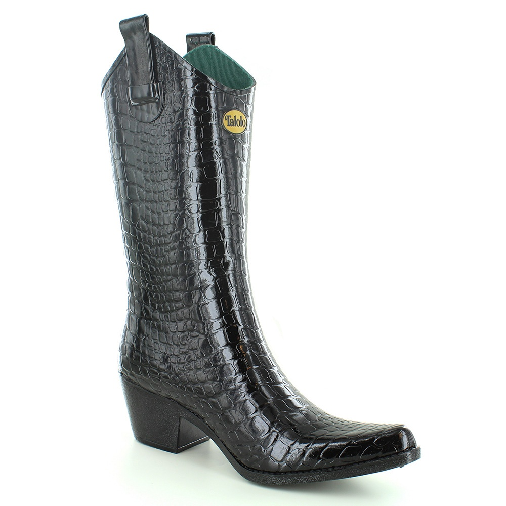 Talolo Womens Urban Snakeskin Wellington Boots - Black