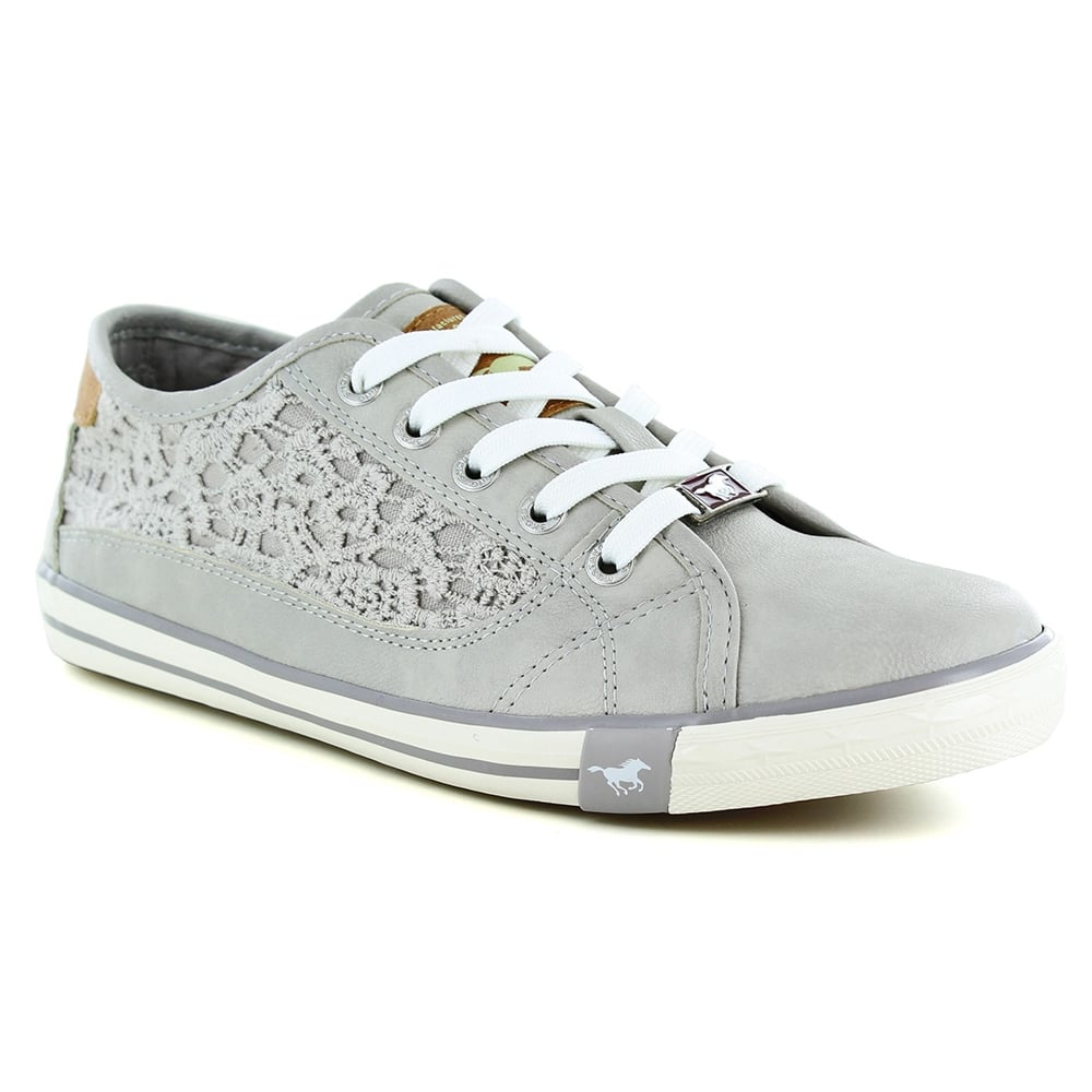 Mustang 1099-306-22 Womens Faux Leather Trainer Shoes - Light Grey