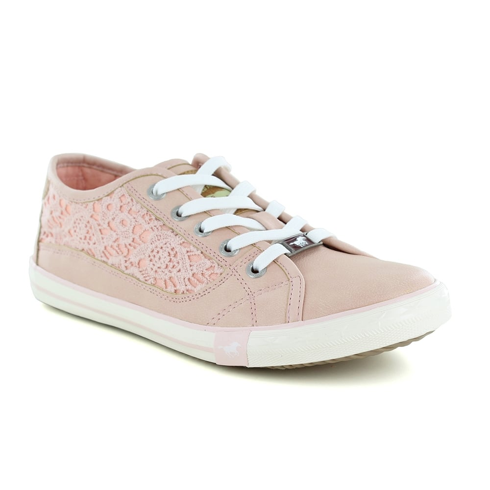 Mustang 1099-306-555 Womens Faux Leather Trainer Shoes - Rose Pink