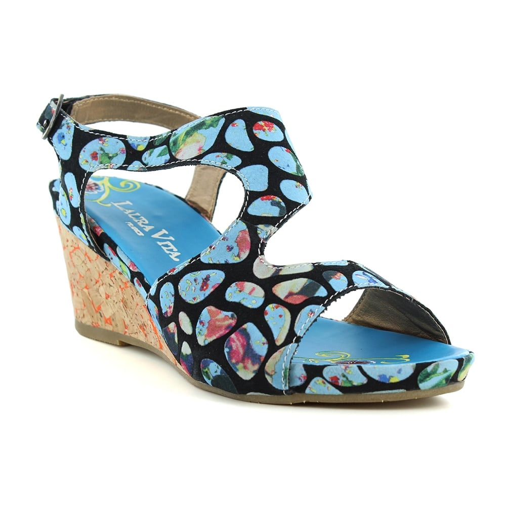 Laura Vita Vapeur SL140356-2A Womens Slip-On Wedge Sandals - Turquoise