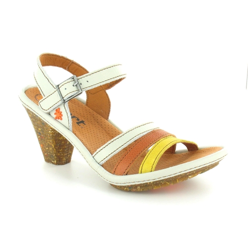 Art St Honore 0764 Womens Leather Strappy Heeled Sandals - Off White, Tan & Yellow